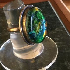 💘BEAUTIFUL VTG STERLING 925 DICHROIC RING Sz 9🦋